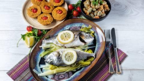 Receita Monsieur Cuisine - Douradas ao Vapor com Salada de Favas e Tarte de Legumes | Cooking Classes