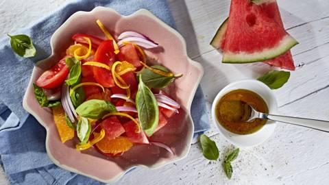Receita Vegan - Salada de Tomate com Melancia