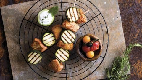 Espetadas de frango com curgete