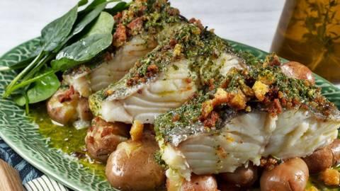 Receita Bacalhau com broa tostada e molho verde | Cooking Classes