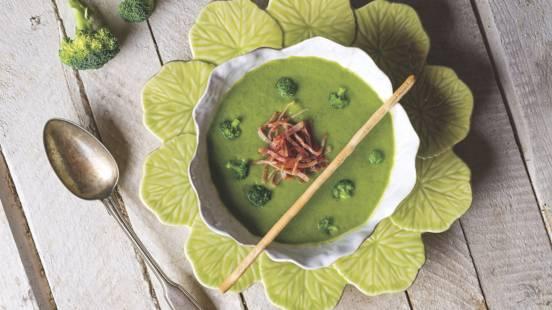 Receita Sem Glúten - Sopa de Brócolos com Presunto