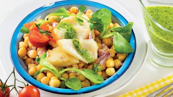 Salada de Bacalhau com pesto e coentros