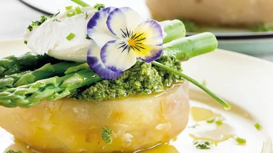 Espargos Verdes com Pesto de Atum e Agrião