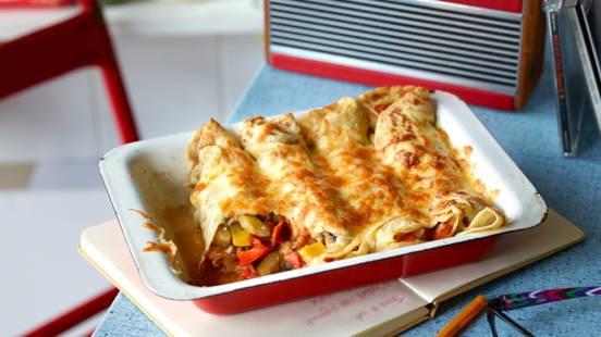 Receita Vegetariana - Crepes Gratinados com Ratatui