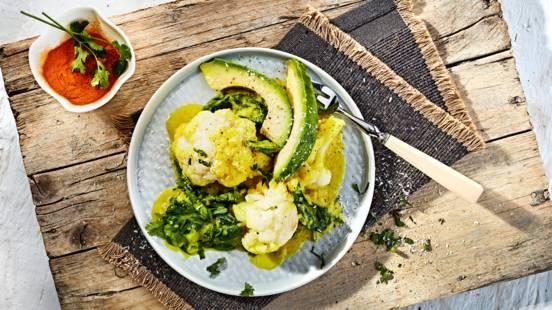 Receita Vegan - Salteado de Couve-Flor com Açafrão e Abacate