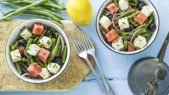 Receita Vegetariana - Salada de Melancia, Queijo de Vaca e Feijão Verde