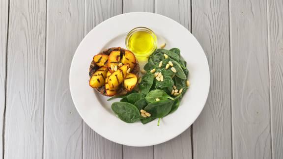 Receita Paleo - Cogumelos Portobello com Pêssego Grelhado | Cooking Classes