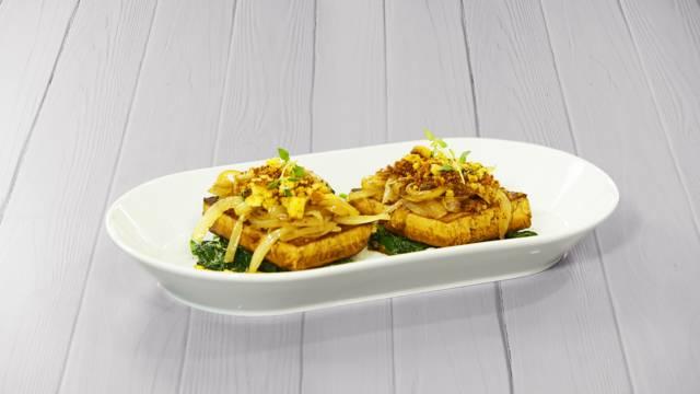 Receita Vegan - Tofu com Broa e Espinafres | Cooking Classes