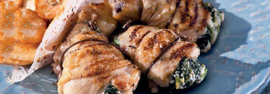 Canelones de frango com grelos e queijo da serra