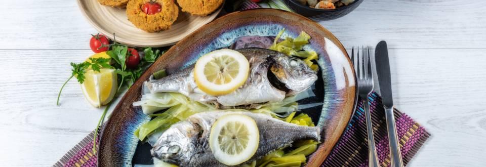 Receita Monsieur Cuisine - Douradas ao Vapor com Salada de Favas e Tarte de Legumes   Cooking Classes