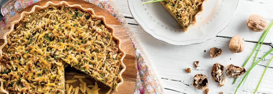 Tarte de Batata-Doce com Nozes e Queijo Cheddar