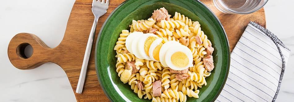 Receita sem Lactose - Fusilli com Ovos e Atum
