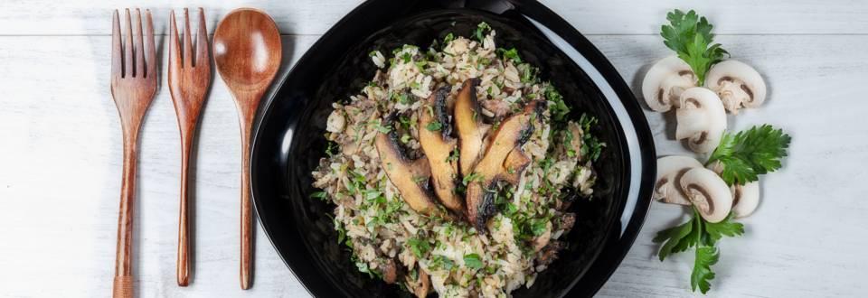 Receita Vegan - Arroz de Cogumelos no Forno