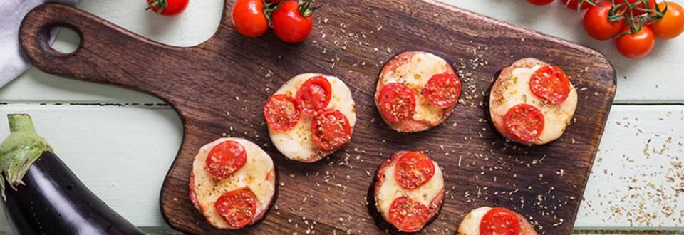 Receita Vegetariana - Mini Pizzas de Beringela