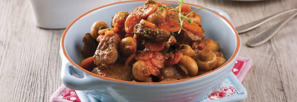 Receita Monsieur Cuisine - Novilho Estufado com Cogumelos