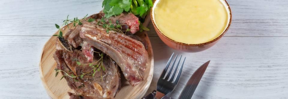 Receita Costeletas de Borrego Grelhadas com Polenta   Cooking Classes