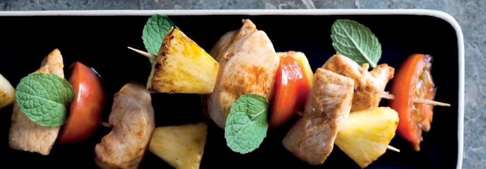 Espetada de Frango com abacaxi