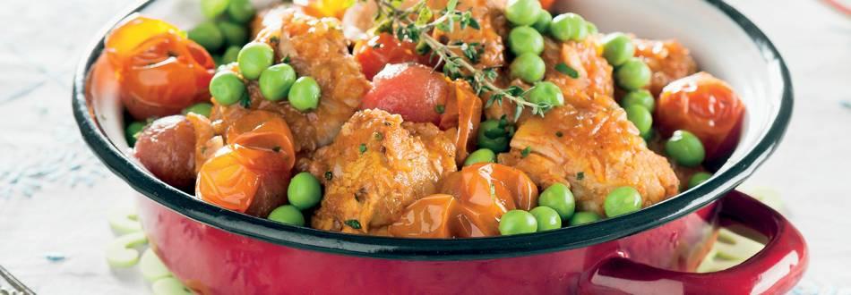 Caçarola de frango e porco com ervilhas